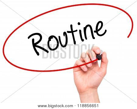Man Hand Writing Routine  With Black Marker On Visual Screen