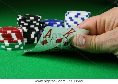 Big slick Ace König mit Poker-chips