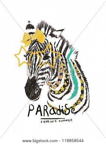 sketch illustration zebra for kids clothing