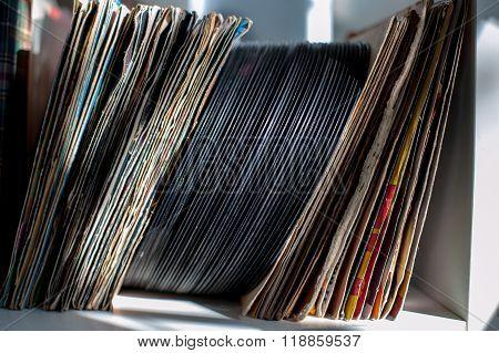 Vintage 45S vinyl Row On House Shelf