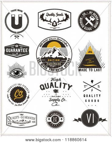 vintage element badge label set