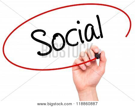 Man Hand Writing Social With Black Marker On Visual Screen