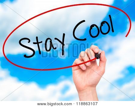 Man Hand Writing Stay Cool   With Black Marker On Visual Screen