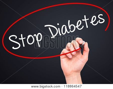 Man Hand Writing Stop Diabetes With Black Marker On Visual Screen