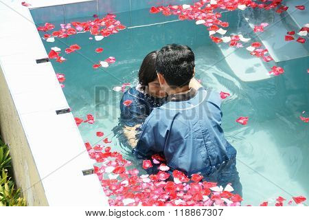 Chiangmai, Thailand - August 8, 2015 : Ceremony Of Baptism. Christian Make Baptism In Water Pond