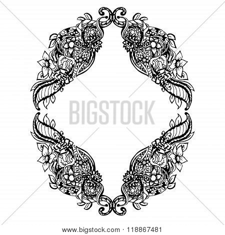 Abstract black and white floral frame. Vector illustration