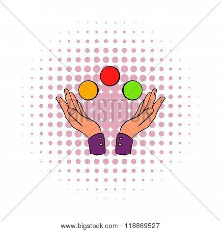 Hands juggling balls comics icon