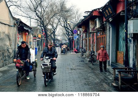 BEIJING, CHINA - APR 4: Old street view with stores on April 4, 2013 in Beijing, China. Beijing is the second largest Chinese city and the nation's political, cultural, educational center.