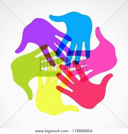 Colorful raised hands. The concept of diversity. Group of hands. Giving concept. This work - eps10 vector file, contain transparent elements