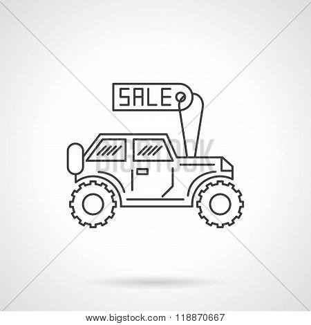 SUV for sale icon flat line design vector icon