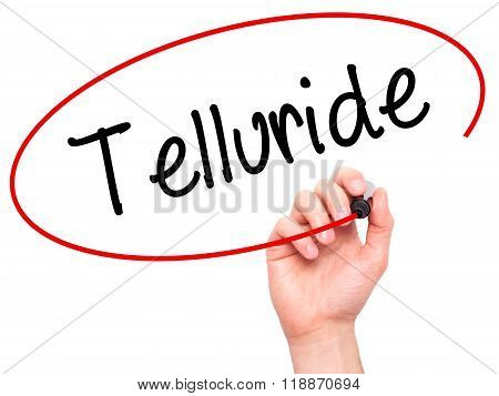 Man Hand Writing Telluride With Black Marker On Visual Screen