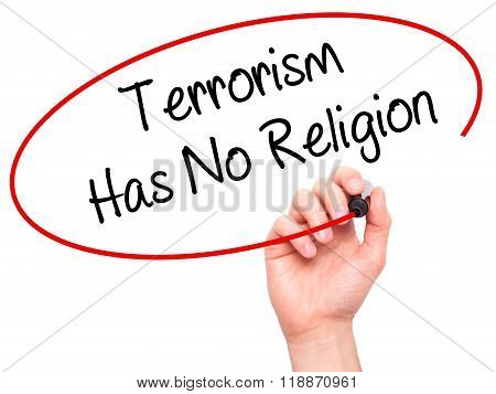 Man Hand Writing Terrorism Has No Religion  With Black Marker On Visual Screen