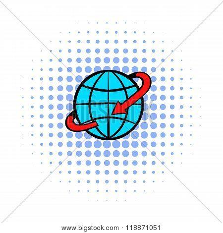 Flight around the world comics icon