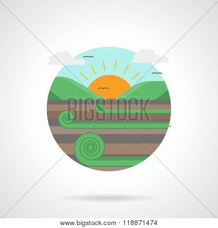 Meadow detailed flat color vector icon
