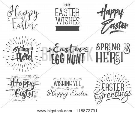 Easter wishes overlays, lettering labels design set. Retro holiday easter badges. Handdrawn emblem w