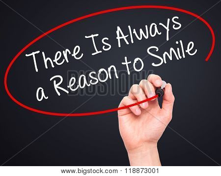 Man Hand Writing There Is Always A Reason To Smile With Black Marker On Visual Screen