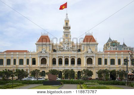 The facade of the city hall in Ho Chi Minh city. Vietnam