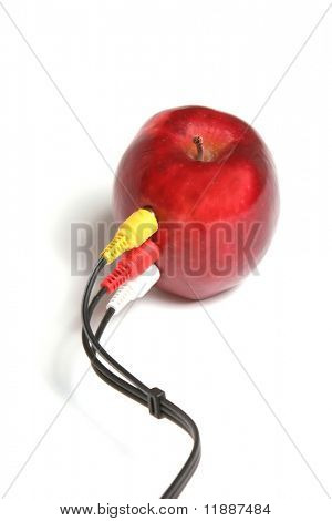 Apple connected to the audio video cable