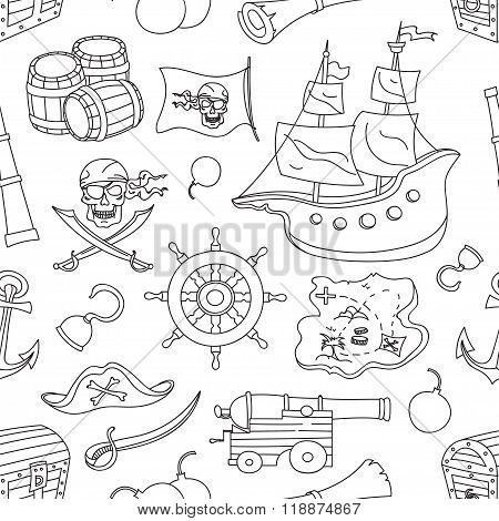 Doodle pattern set of pirates