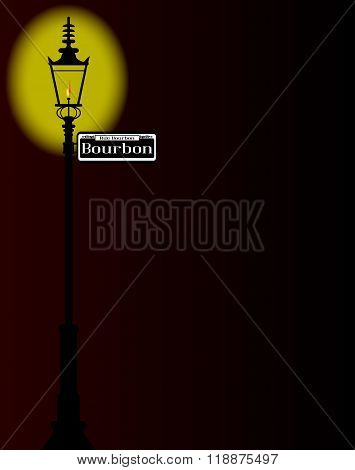 Rue Bourbon Street Sign With Lamp