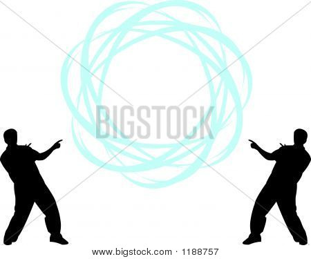 Two Men Pointing To Sphere With Your Text - Vector Illustration