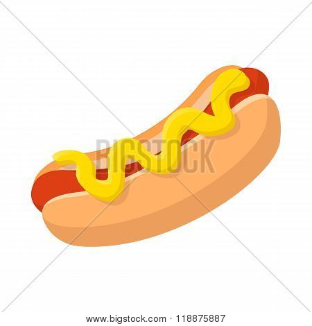 Hotdog with mustard cartoon icon