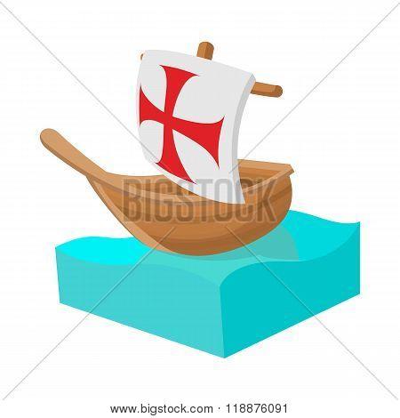 Columbus ship icon in cartoon style