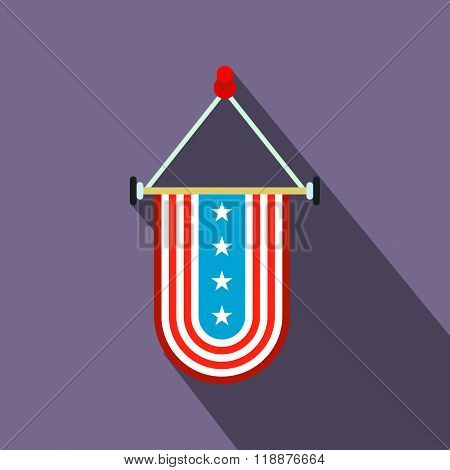 Pennant with the national flag of USA flat icon