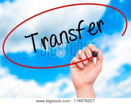 Man Hand Writing Transfer With Black Marker On Visual Screen