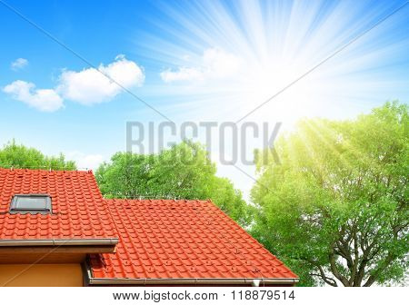 Roof house with tiled roof.