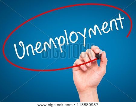Man Hand Writing  Unemployment With Black Marker On Visual Screen