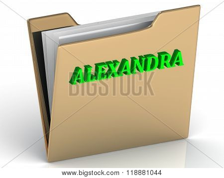 Alexandra- Bright Green Letters On Gold Paperwork Folder