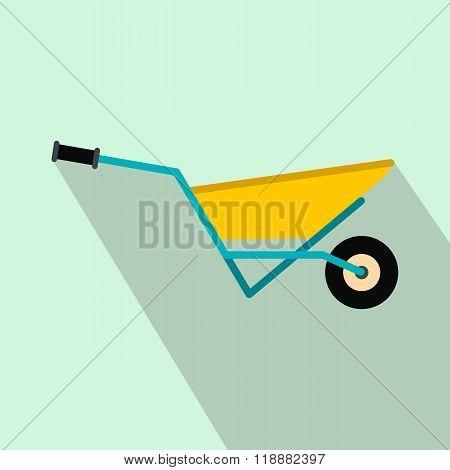 A wheelbarrow full of turf flat icon