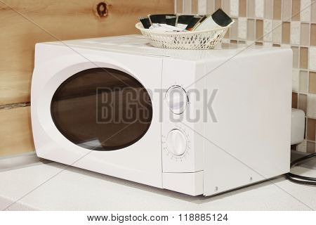 Close-up microwave  on the table
