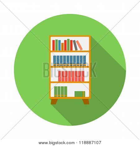 Wooden bookcase icon, flat style