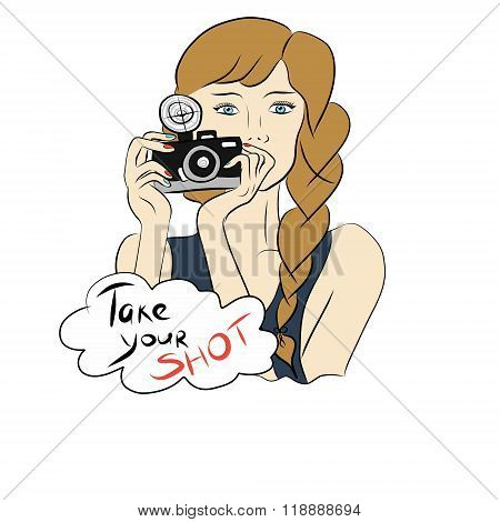 Photographer girl with camera