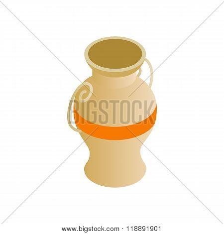 Egyptian vase icon, isometric 3d style