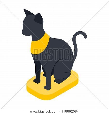 Black Egyptian cat icon, isometric 3d style