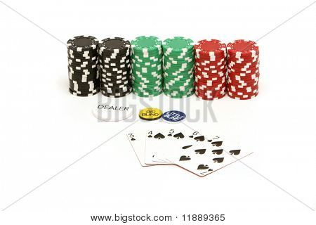 Colorful poker chips on white background