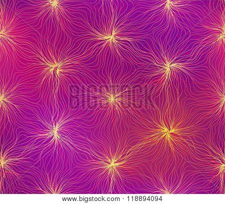 Seamless hexagon lines wavy flower electric shine