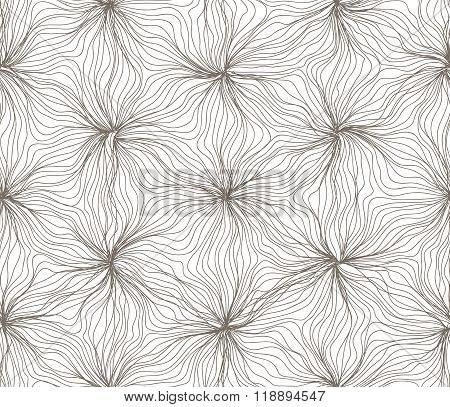 Seamless hexagon lines wavy flower sepia on white