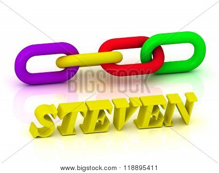 Steven- Name And Family Of Bright Yellow Letters