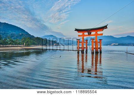 The Floating Torii Gate In Miyajima, Japan