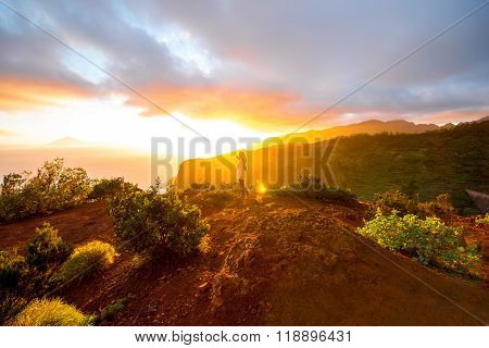 Mountain sunrise view on La Gomera island