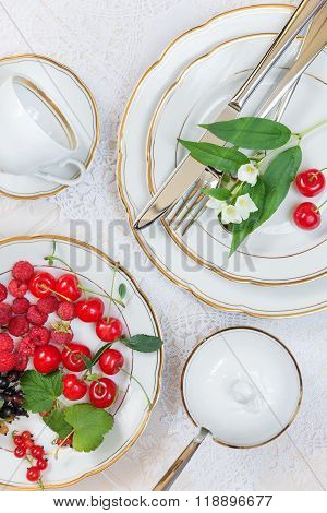 Beautiful Table Setting  With Different Berries