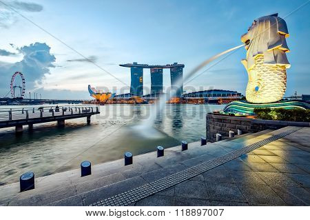 Singapore Cityscape And The Merlion In The Morning