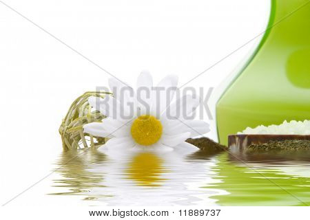 Spa objects with water reflection