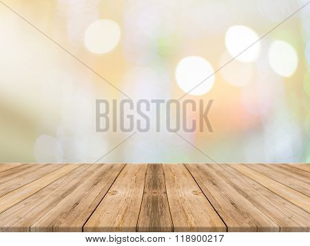 Empty Perspective Room With Sparkling Bokeh Wall And Wooden Plank Floor,template Mock Up For Display