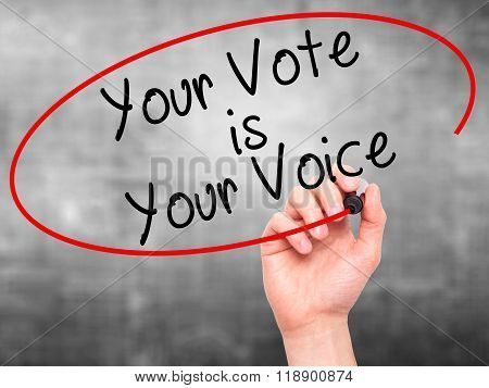 Man Hand Writing Your Vote Is Your Voice With Black Marker On Visual Screen