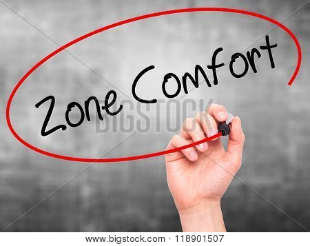 Man Hand Writing Zone Comfort With Black Marker On Visual Screen
